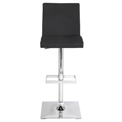 Captain Adjustable Height Swivel Bar Stool Upholstery: Black