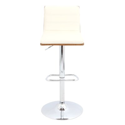 Vasari Adjustable Height Swivel Bar Stool Upholstery: Walnut/Cream