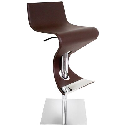 Cambria Adjustable Height Swivel Bar Stool Upholstery: Coffee
