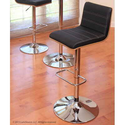 Vasari Adjustable Height Swivel Bar Stool Upholstery: Walnut/Black