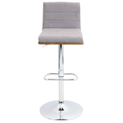 Vasari Adjustable Height Swivel Bar Stool Upholstery: Walnut/Grey