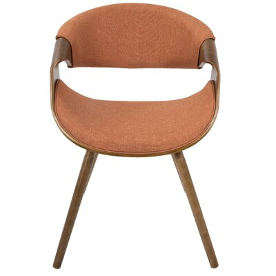 Corsica Curvo Armchair Finish: Orange, Leg Finish: Straight Wood Frame