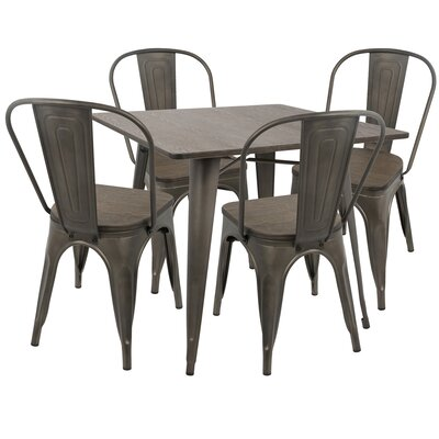 Claremont 5 Piece Dining Set Wood Finish: Espresso, Metal Finish: Antique
