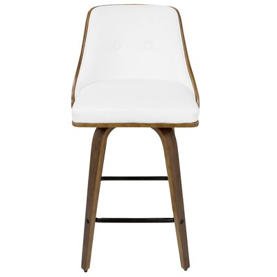 Alexa Counter 26.25 Swivel Bar Stool Upholstery: White