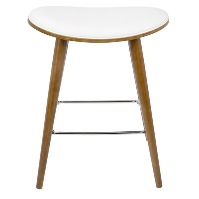 Kylie Saddle Fixed Base Counter 26 Bar Stool Upholstery: White