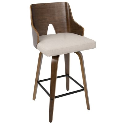 Beauviore Fixed Height Counter 26 Swivel Bar Stool Upholstery: Beige