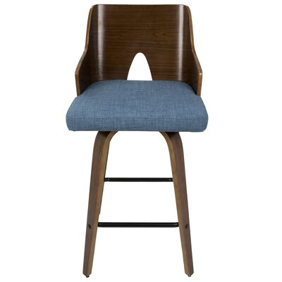 Beauviore Fixed Height Counter 26 Swivel Bar Stool Upholstery: Blue