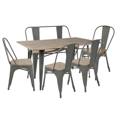 Roscoe 6 Piece Dining Set Finish: Gray/Brown