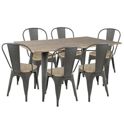 Claremont 7 Piece Dining Set Finish: Gray/Brown