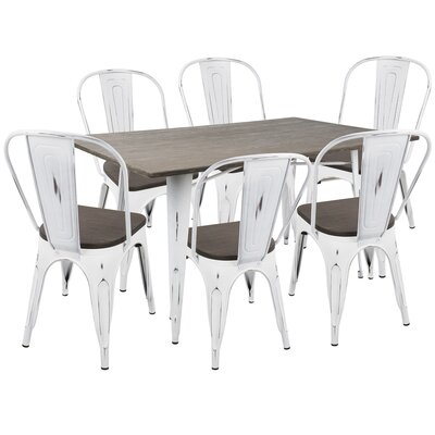 Roscoe 7 Piece Dining Set Finish: Vintage White/Espresso