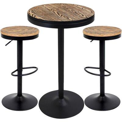 Baer 3 Piece Adjustable Pub Table Set Finish: Black