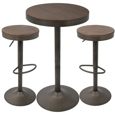 Baer 3 Piece Adjustable Pub Table Set Finish: Antique/Brown