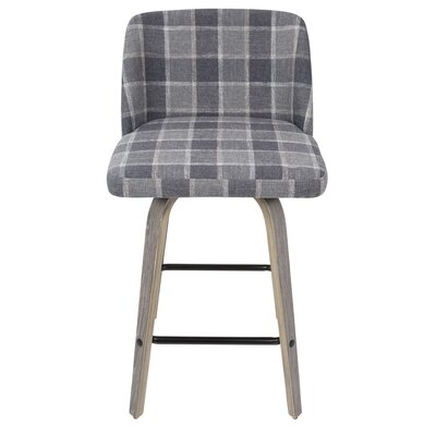 Fleeman 25.5 Bar Stool Finish: Blue Plaid