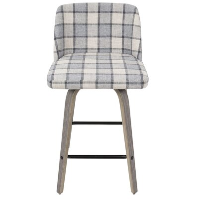 Fleeman 25.5 Bar Stool Finish: Gray Plaid