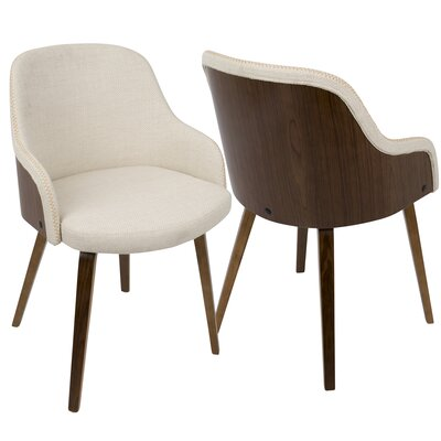 Brighton Mid-Century Modern Upholstered Dining Chair Upholstery Color: Cream