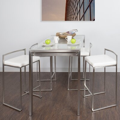Dory Contemporary 5 Piece Counter Height Dining Set Upholstery Color: White