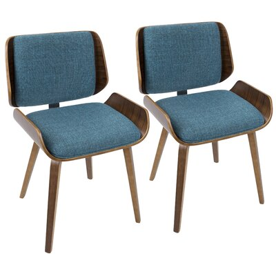 Arron Mid-Century Solid Wood Upholstered Dining Chair Upholstery Color: Turquoise