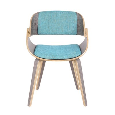 Simsbury Mid-Century Solid Wood Upholstered Dining Chair Upholstery Color: Aqua