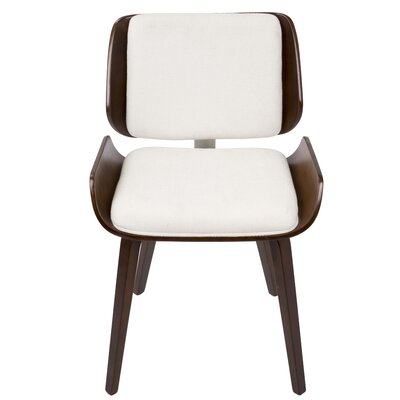 Maci Mid-Century Solid Wood Upholstered Dining Chair Upholstery Color: White