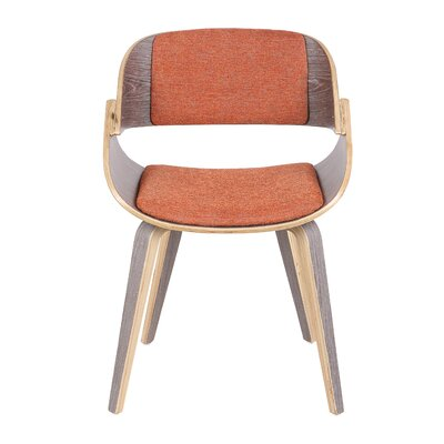 Simsbury Mid-Century Solid Wood Upholstered Dining Chair Upholstery Color: Orange