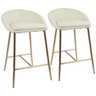 Escarcega 25.75 Bar Stool Upholstery: Cream, Color: Gold