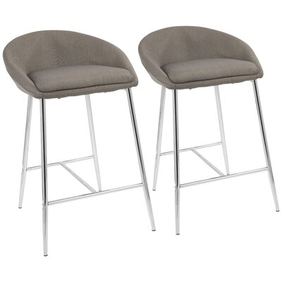 Escarcega 25.75 Bar Stool Upholstery: Gray, Color: Silver