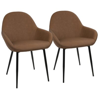 Rylee Upholstered Dining Chair Upholstery Color: Brown