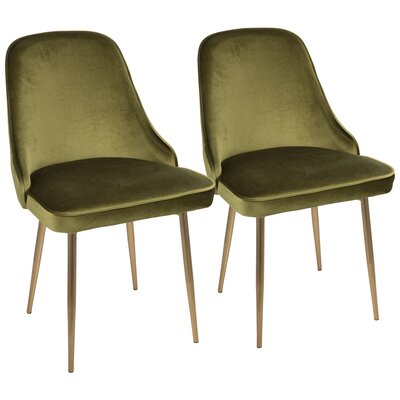 Mariselys Contemporary Velvet Upholstered Dining Chair Upholstery Color: Green, Leg Color: Gold