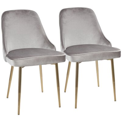 Mariselys Contemporary Velvet Upholstered Dining Chair Upholstery Color: Silver, Leg Color: Gold