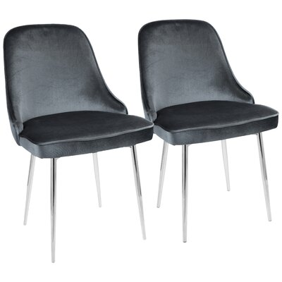 Mariselys Contemporary Velvet Upholstered Dining Chair Upholstery Color: Blue, Leg Color: Silver