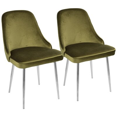 Mariselys Contemporary Velvet Upholstered Dining Chair Upholstery Color: Green, Leg Color: Silver