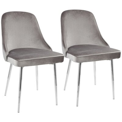 Mariselys Contemporary Velvet Upholstered Dining Chair Upholstery Color: Silver, Leg Color: Silver