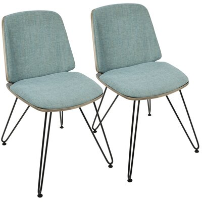 Callendale Mid-Century Modern Upholstered Dining Chair Upholstery Color: Fabric Teal