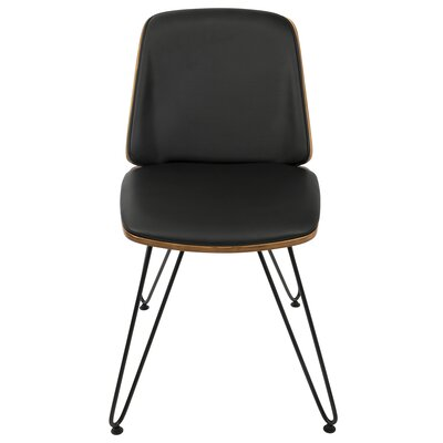 Calline Creek Mid-Century Modern Upholstered Dining Chair Upholstery Color: Faux Leather Black