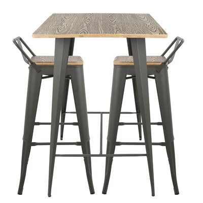 Jamila 3 Piece Pub Table Set Finish: Gray