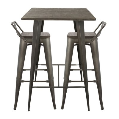 Claremont 3 Piece Pub Table Set Color: Antique Brown