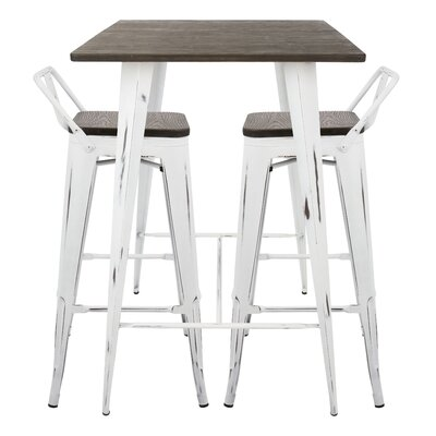 Claremont 3 Piece Pub Table Set Color: Vintage White