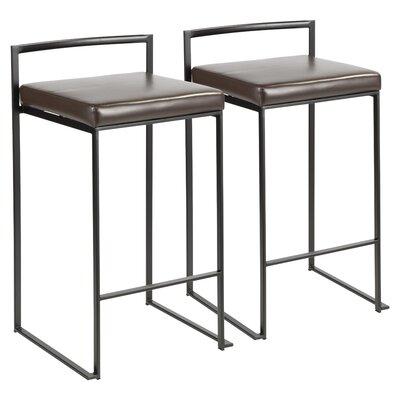 Gary 30.75 Bar Stool Upholstery: Brown, Color: Black