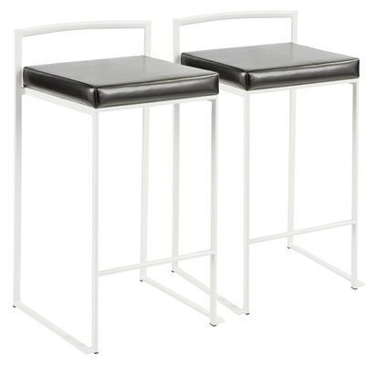 Roseto 30.75 Bar Stool Upholstery: Black, Color: White