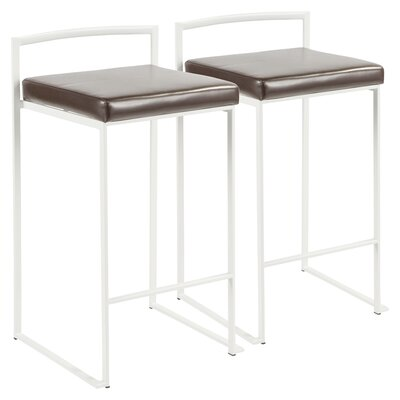 Gary 30.75 Bar Stool Upholstery: Brown, Color: White