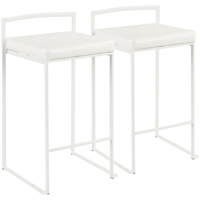 Roseto 30.75 Bar Stool Upholstery: White, Color: White