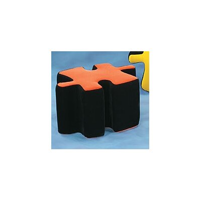 Plush Furniture Ottoman Upholstery: Black/Orange