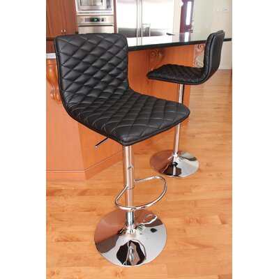 Filip Adjustable Height Swivel Bar Stool Upholstery: Black