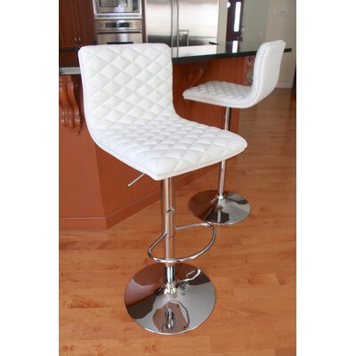 Filip Adjustable Height Swivel Bar Stool Upholstery: White
