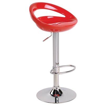 Lumisource Modern Adjustable Height Bar Stool - Seat Finish: Red