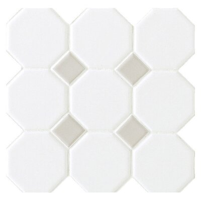 Octagon and Dot 2 x 2 Ceramic Mosaic Tile in Glazed Matte White with Gray Gloss Dot