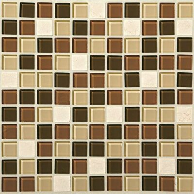 Gibson 1 x 1 Porcelain/Glass/Natural Stone Mosaic Tile in Desert Dune