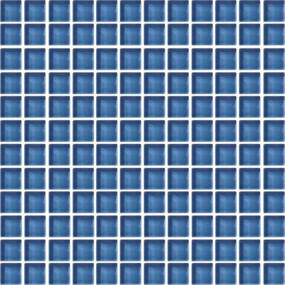 Color Wave 1 x 1 Glass Mosaic Field Tile in Twilight Blue