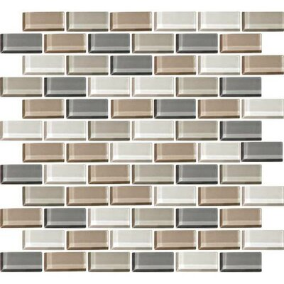 Color Wave 1 x 2 Brick Joint Glass Mosaic Field Tile in Willow Waters