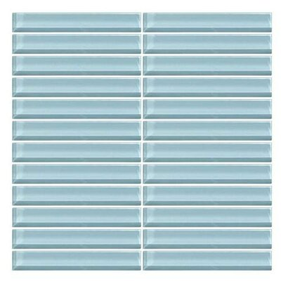 Color Wave Straight-Joint 1 x 6 Glass Mosaic Tile in Blue Lagoon